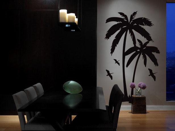 Vinyl Wall Art Decal Sticker Palm Tree & Birds 6ft Tall