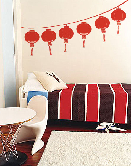 Vinyl Wall Decal Sticker Chinese Lantern Festival