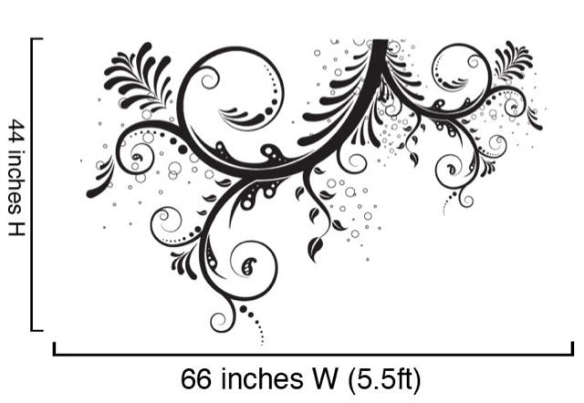 Vinyl Wall Decal Sticker Flower Floral Swirl LARGE
