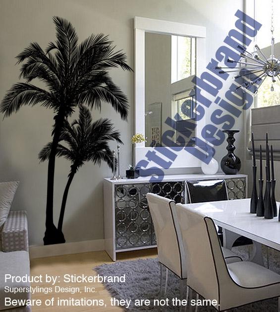 Vinyl Wall Decal Sticker Beach Palm Trees 7ft Tall BIG