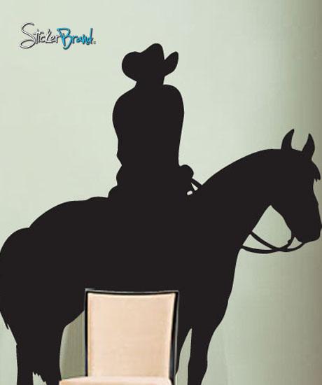 Vinyl wall art decal sticker cowboy on horse ebay for Cowboy wall mural